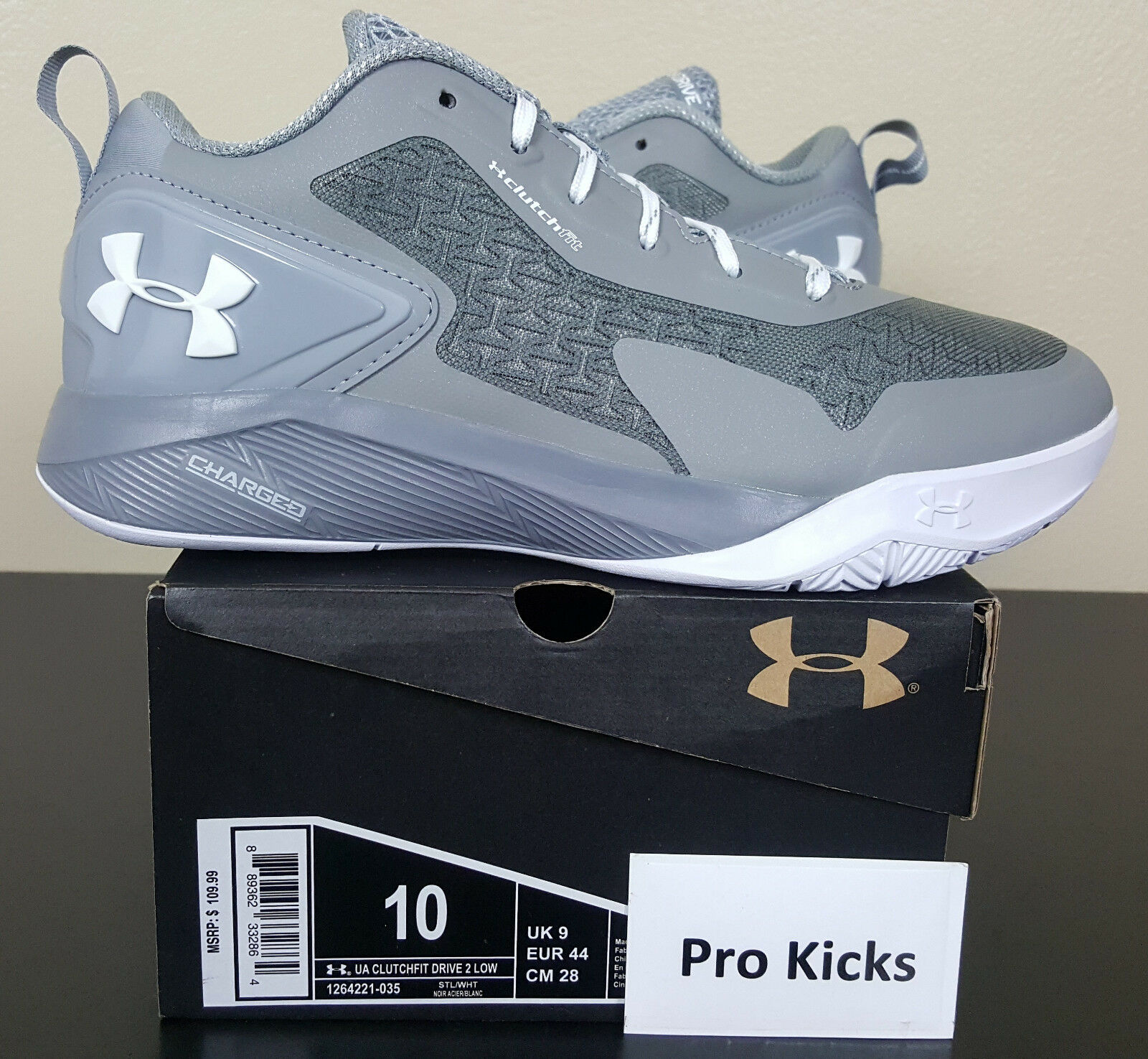 UNDER ARMOUR CLUTCHFIT BASKETBALL DRIVE 2 LOW BASKETBALL CLUTCHFIT Scarpe GREY 1264221-035 (SIZE 10) 99179a