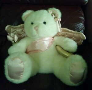 Cupid Bear Huge White Plush with Pink Satin Wings Gold Bow & Quiver Sits 14""