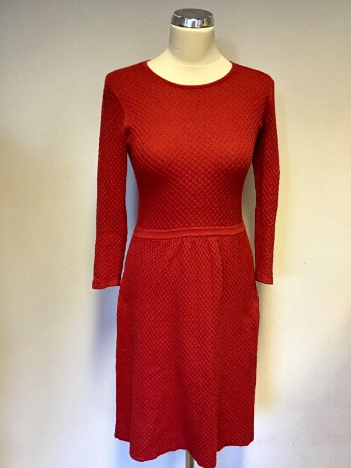 HOBBS Rosso Cotone Fine Knit 3 4 4 4 Sleeve Abito Taglia 6 17b50b