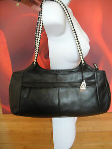 Image Is Loading Superb Tula Black White Leather Shoulder Bag Handbag