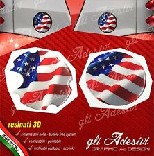 2 Adesivi 3D Tappo Benzina presa aria BRABUS Smart for two 450 452 Usa Flag