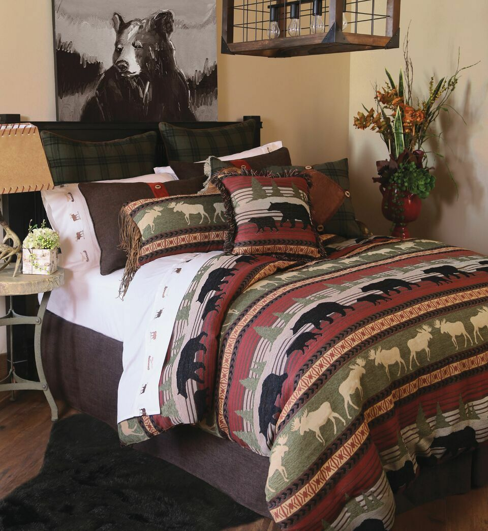 Ontario Wilderness Cabin Rustic Comforter Set with FREE Valance and Shipping
