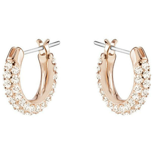 ad05d8de2 Swarovski 5446008 STONE PIERCED EARRINGS, SMALL, PINK, ROSE GOLD Authentic