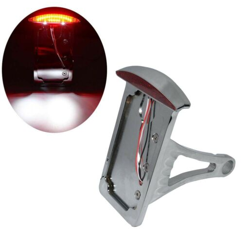 """Motorcycle 1/"""" axles 7//8/"""" Side Axle Mount License Plate Assembly LED Tail Light"""