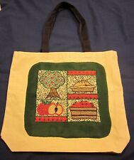 Reusable Shopping Bag Apple Tree Apple Pie Hand Embellished Cloth