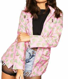 804b0cf26c534 New Womens Plus Size Fishtail Pink Cactus Lightweight Parka Raincoat Coat  Jacket