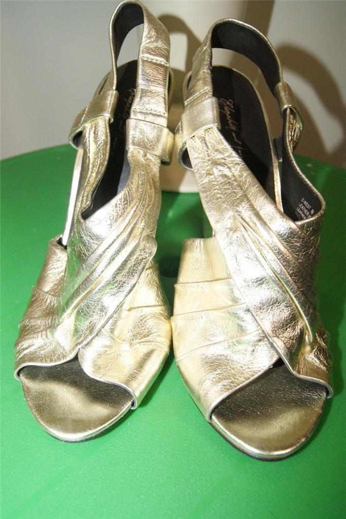 ELIZABETH & JAMES E-WEST METALLIC GOLD WEDGES HEELS SHOES  SIZE 8 B NWOB (tac900