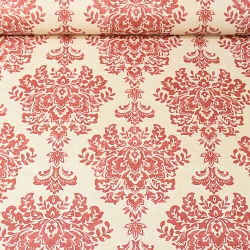 Grandeco Cream Red Damask Textured Vinyl Glitter Crystal Wallpaper A19703