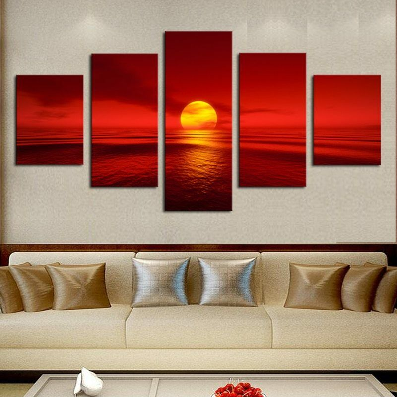 rot Sun in Ocean Sea Natural Landscape 5 pieces Canvas Wand Poster Home Decor