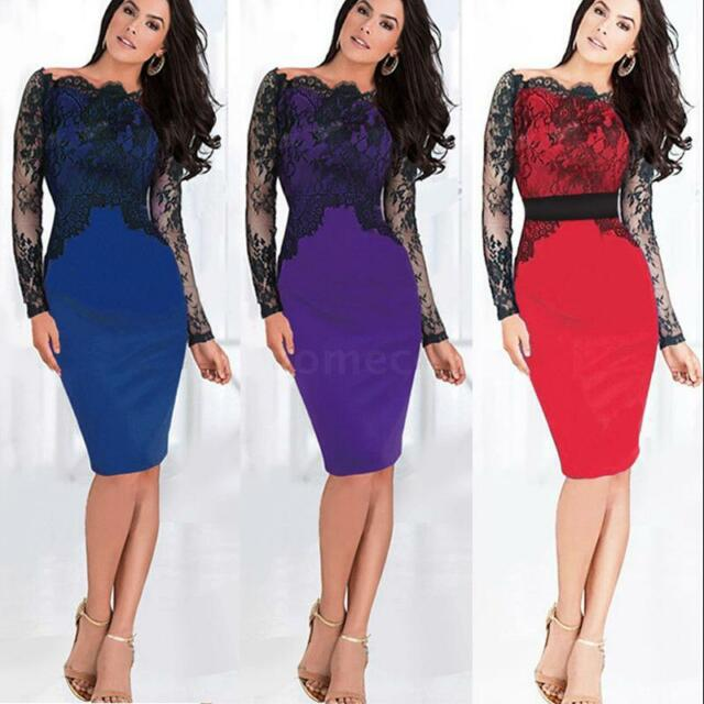 Women's Lace Off Shoulder Long Sleeve Cocktail Party Bodycon Formal Pencil Dress