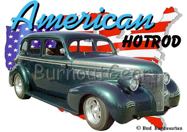 1939 Grün Chevy 4 door Sedan Custom Hot Rod USA T-Shirt 39 Muscle Car Tees