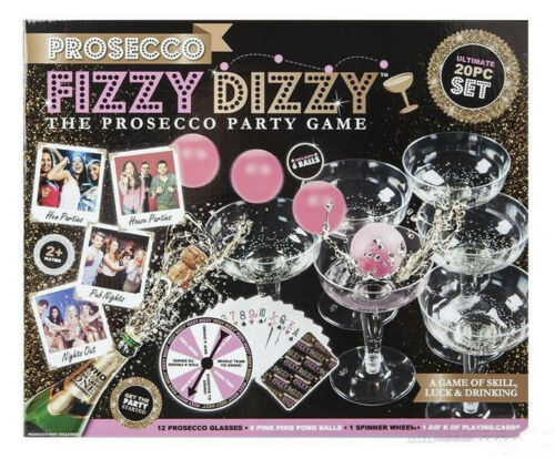20pc Prosecco Fizzy Dizzy Party Skill Luck Game /& Drinking Ping Pong Ball Glass