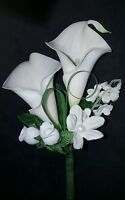 Wedding Double Calla Lily Grooms Best Men Father Boutonniere