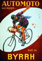 2780.automoto Wine Drinking Cyclist Byrrh Poster.french.home Wall Art Decor