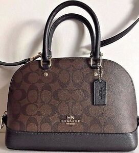 NWT-Coach-58295-mini-Sierra-Satchel-Handbag-Signature-Coated-Canvas-Brown-Black