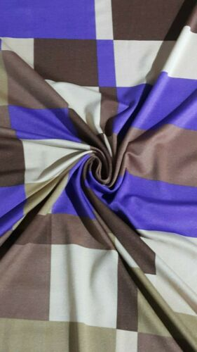 PURPLE //BEIGE//BROWN PRINTED STRETCH JERSEY LYCRA FABRIC-Sold ByThe Metre