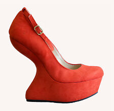 Tomato Red Round Toe Ankle Strap Mary Jane Heel Less Curved Wedge High Pump 8