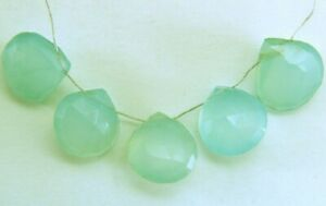 Calsidonite Chalcedony Natural 2 Faceted Hearts 10-11mm long Gemstone Beads