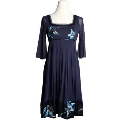 Vivienne Tam Mesh Dress Embroidered Flowers 0 Blue