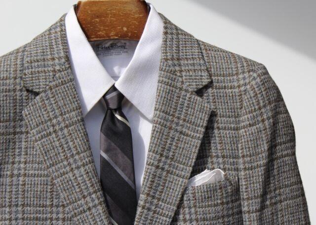 Gentleman's Vintage 36R Blue-Grey Check Tweed Sport Coat