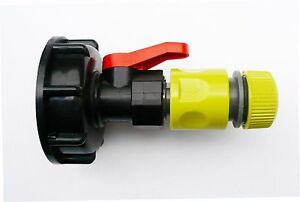 IBC-ADAPTER-S60X6-to-PP-BALL-VALVE-amp-Snap-On-Connector-C-w-Hose-Connector