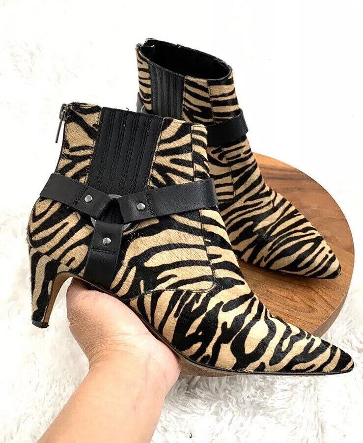 Vince Camuto Black Zebra Pattern Ankle Booties Bo… - image 2
