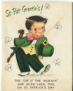 VINTAGE CUTE BOY CHILD GREEN CLOVERS ST. PATRICK'S DAY GREETING LITHOGRAPH CARD