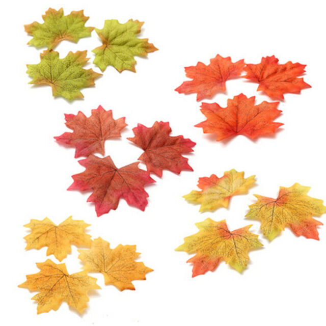 100pcs Fall Silk Leaves Wedding Favor Autumn Maple Leaf Decorations