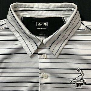 adidas-Shirt-Golf-Polo-Mens-L-Pinehurst-Climacool-White-Stripe-Short-Sleeve