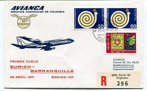 Ffc 1971 Avianca First Flight Boeing 707 Zurich Barranquilla Registered Helvetia