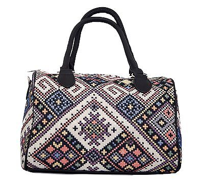 Damen Handtasche Umhängetasche Shopper Bowlingtasche Ethno Muster Canvas Bunt