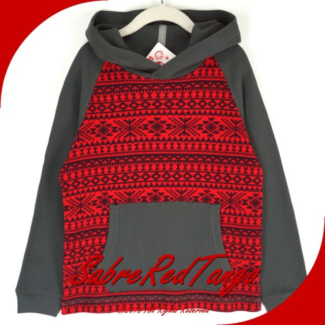 NWT HANNA ANDERSSON FAIR ISLE WAFFLEKNIT THERMAL HOODIE PULLOVER RED 160 14