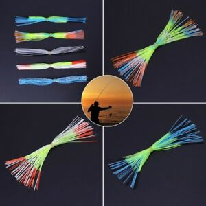 Soft Fishing Lures Beard Silicone Skirts  Windless Rubber Squid Jig Bait
