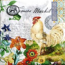 mICHEL dESIGN wORKS Set of 20 Cocktail Beverage Napkins - Farmers Market Rooster