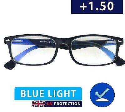 1 5 Blue Light Reading Glasses Anti Glare 1 50 Uv Protective Glasses Screen Ebay