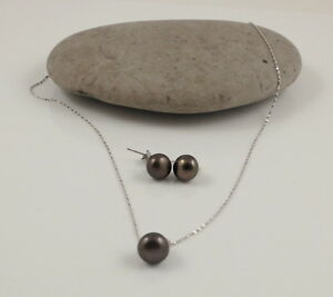 """Brown Round River Pearl Pendant & 18"""" Sterling Silver Chain Necklace Pearl Studs"""