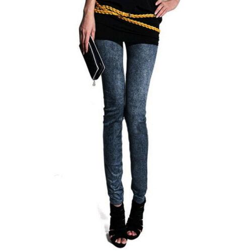 Femmes pantalons en Denim doux milieu taille Leggings de poche grande Jeans
