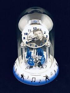 Elvis-Presley-9-034-Anniversary-Clock-w-blue-guitars-Collectible-Glass-Dome
