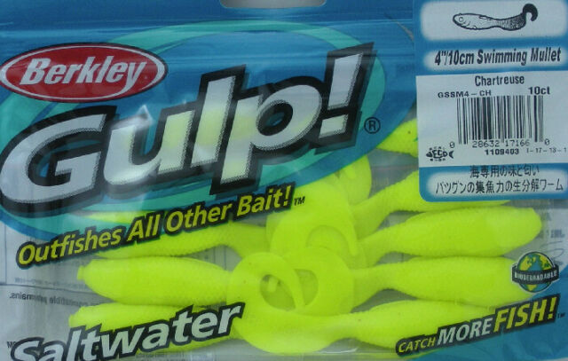 Berkley Gulp Swimming Mullet Bait 4 Inches Chartreuse 1109403 for sale online