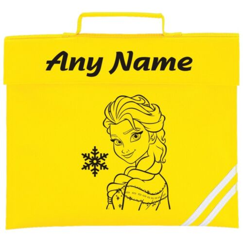 Choice of Colours* Personalised Elsa//Frozen Style School Book Bag *ANY NAME