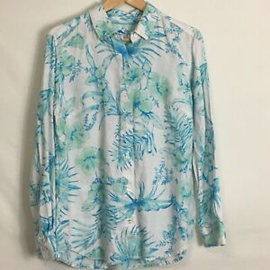 Tommy Bahama White Tropical Floral Button Down Linen Top Women's SIze M
