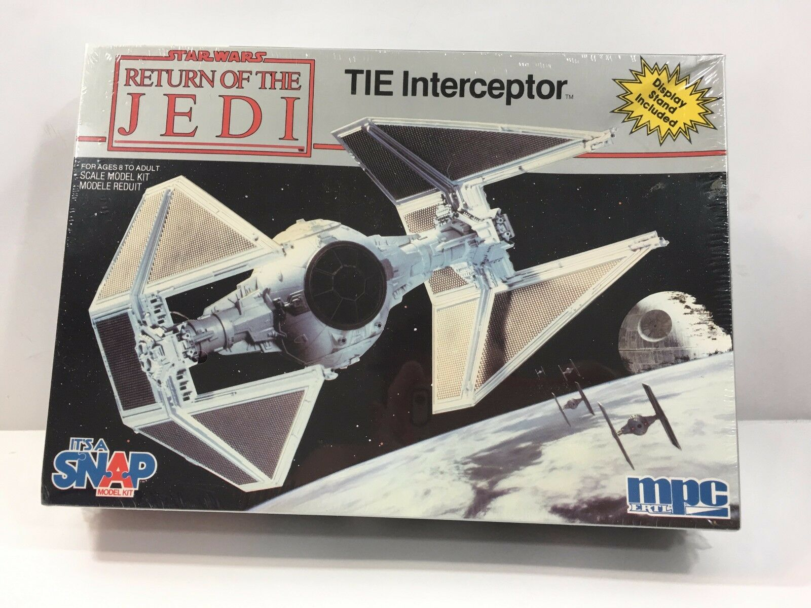 STAR WARS Return of the Jedi TIE Interceptor (1983, by MPC) w Display Stand
