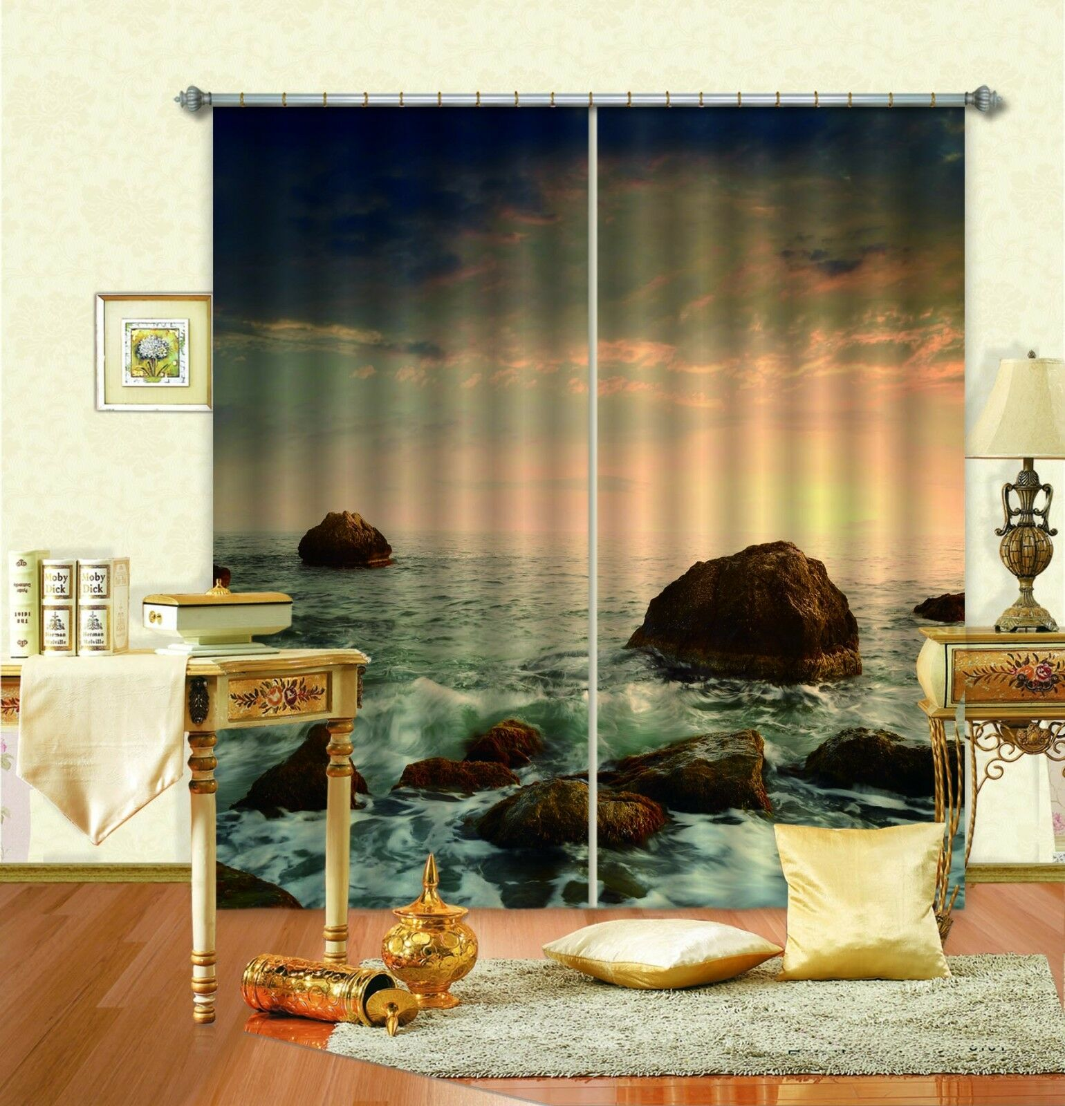 3D Stone Sea 247Blockout Photo Curtain Printing Curtains Drapes Fabric Window