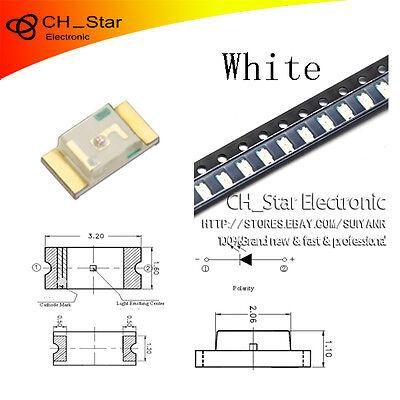 100PCS SMD SMT 1206 3216 LED White Light Emitting Diodes Super Bright