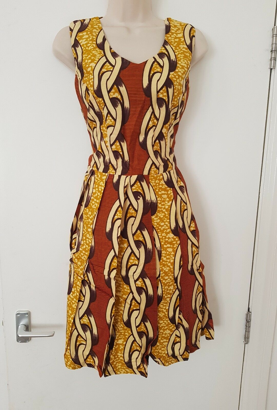 HANDMADE AFRICAN PRINT DRESS SIZE  10 KNEE LENGTH, FREE UK DELIVERY