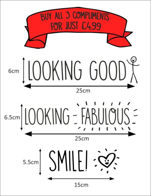 COMPLIMENTING MIRROR STICKERS Looking Good/Fabulous/Smile - Cute Bedroom Funny