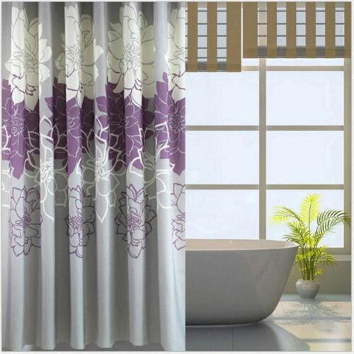Home flower Bathroom Curtain Polyester Waterproof Shower Curtain Set 7479