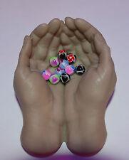 Billes piercing UV Néon 10 Billes 1.6x 5 mm,  piercings langue Nombril cb2975