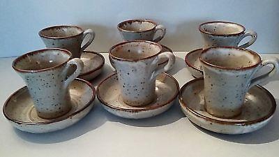 Ensemble De Six Tasses Et Sous-tasses En Grès Déco Vintage Koop One Give One