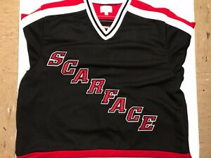 best service e147f 976e2 Image is loading NWT-Supreme-SCARFACE-Hockey-Jersey-Black-Red-White-